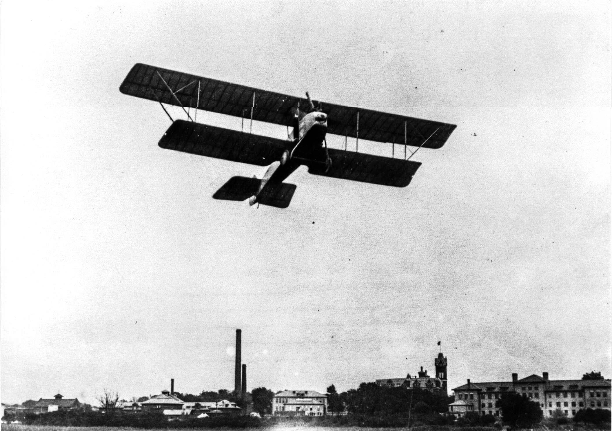 Biplane takes off in 1917