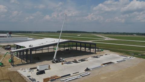 photo of hangar being constructed